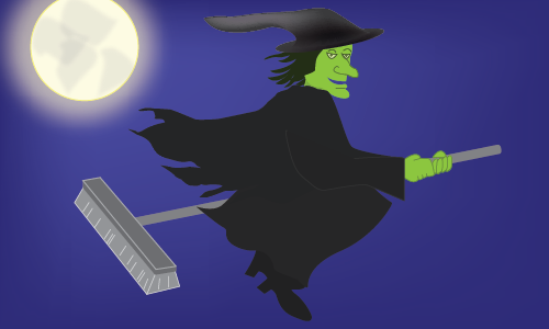A broom witch flies across the night sky
