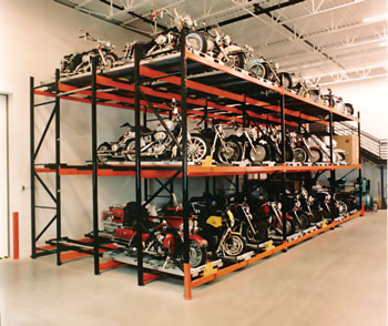 Pallet racking systems with motorcycles