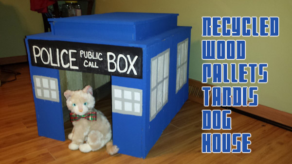 doctor who recycled pallets tardis dog house